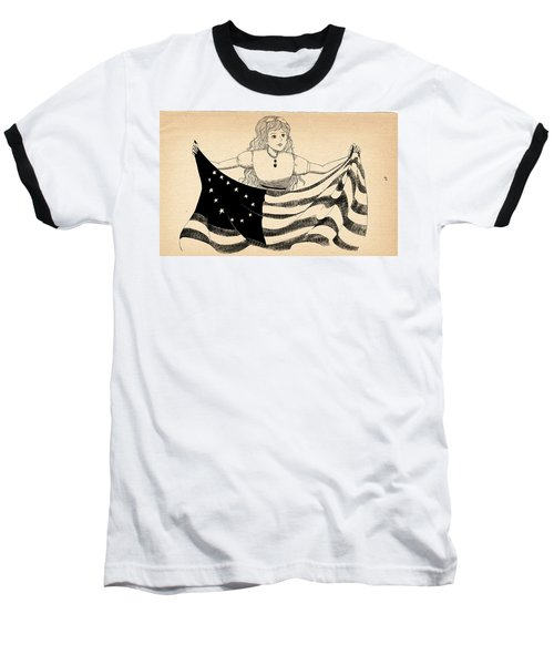Baseball T-Shirt featuring the drawing Tammy And The Flag by Reynold Jay