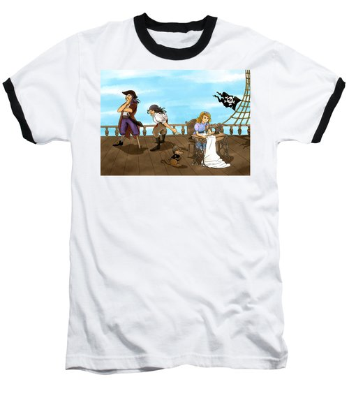 Baseball T-Shirt featuring the painting Tammy And The Pirates by Reynold Jay