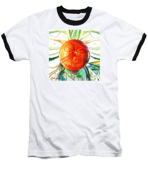 Tangerine Orb Nouveau Baseball T-Shirt by Robin Moline