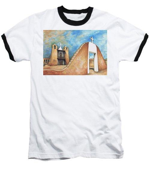 Taos Pueblo New Mexico - Watercolor Art Painting Baseball T-Shirt