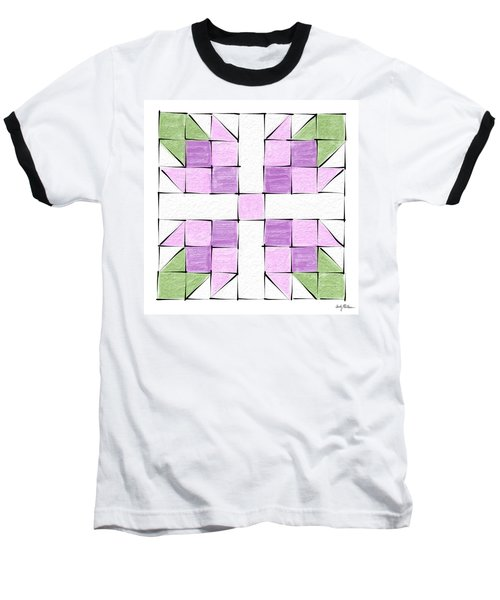 Tea Rose Quilt Block Baseball T-Shirt