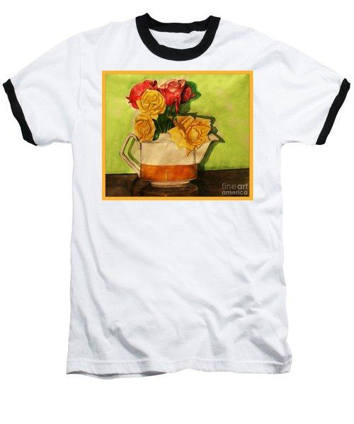 Tea Roses Bordered Baseball T-Shirt