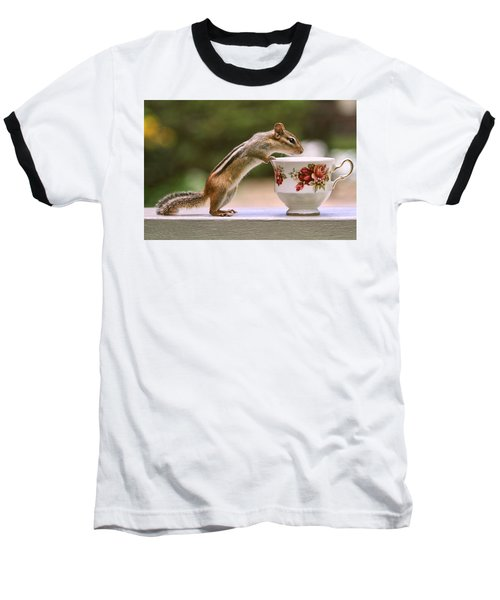 Tea Time With Chipmunk Baseball T-Shirt by Peggy Collins