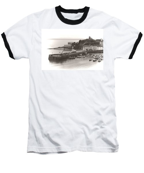 Tenby Harbour And Castle Hill Vignette Baseball T-Shirt