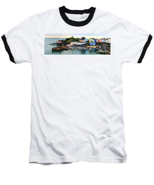 Tenby Harbour Panorama Baseball T-Shirt