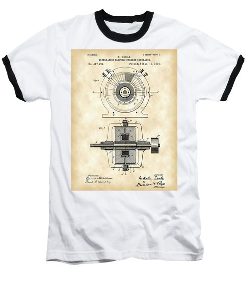 Tesla Alternating Electric Current Generator Patent 1891 - Vintage Baseball T-Shirt
