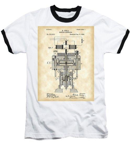Tesla Electric Generator Patent 1894 - Vintage Baseball T-Shirt