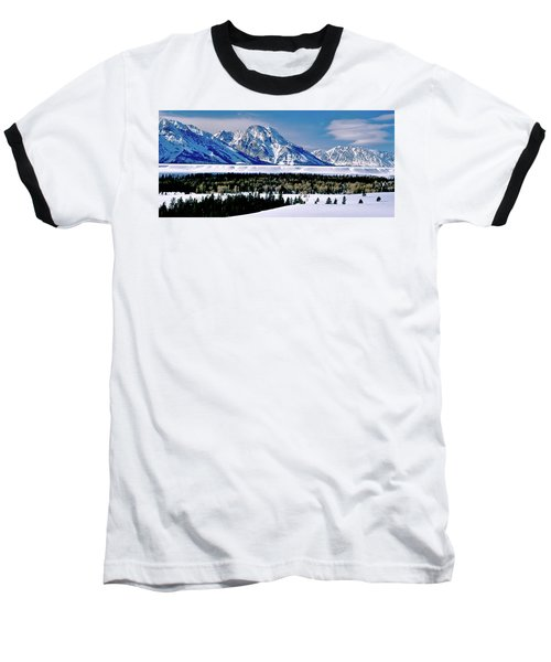 Teton Valley Winter Grand Teton National Park Baseball T-Shirt by Ed  Riche