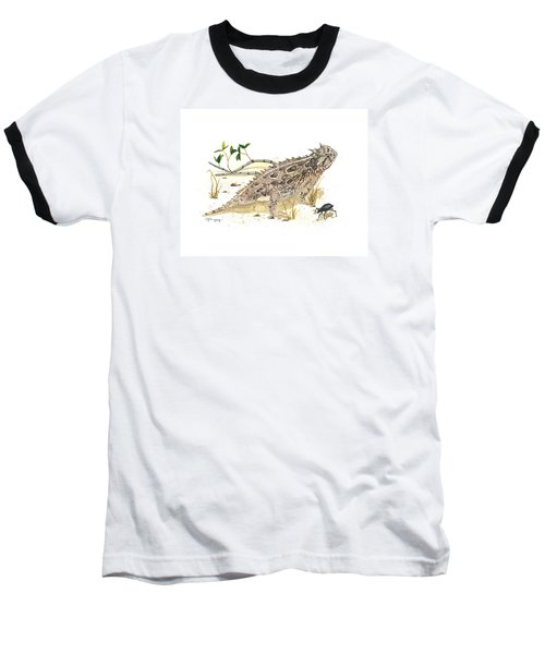 Texas Horned Lizard Baseball T-Shirt by Cindy Hitchcock