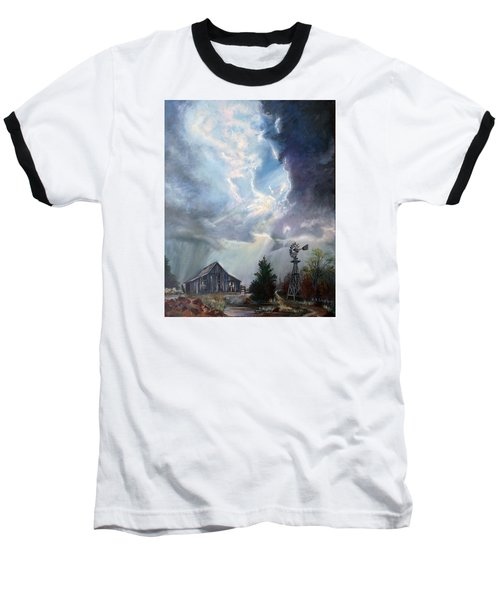 Baseball T-Shirt featuring the painting Texas Thunderstorm by Karen Kennedy Chatham
