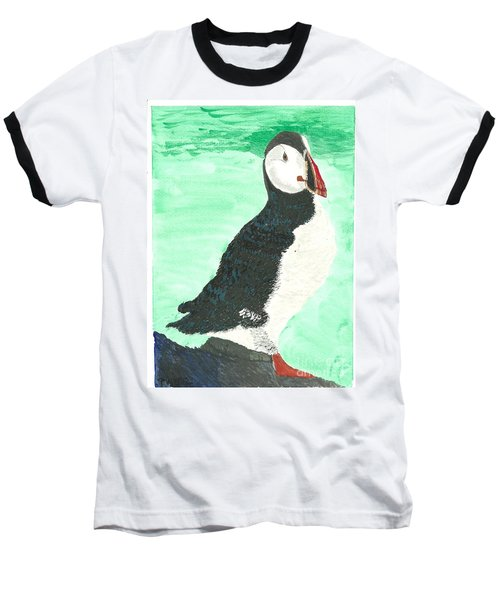 That's Another Puffin Year Over Baseball T-Shirt by Tracey Williams