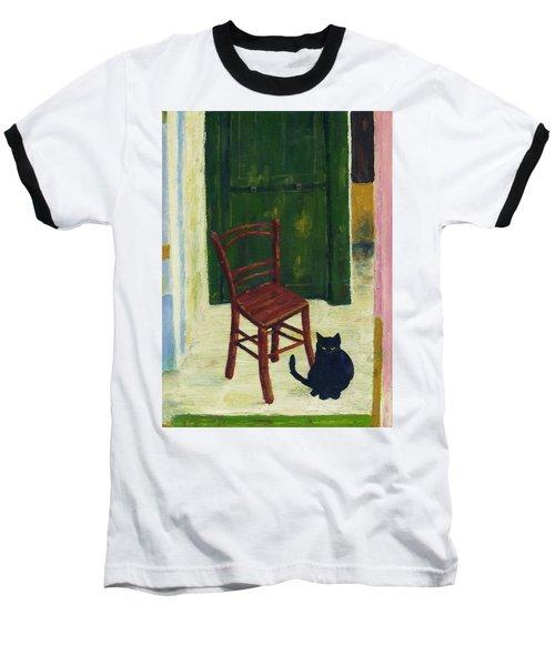 The  Black Cat Baseball T-Shirt by Hartmut Jager
