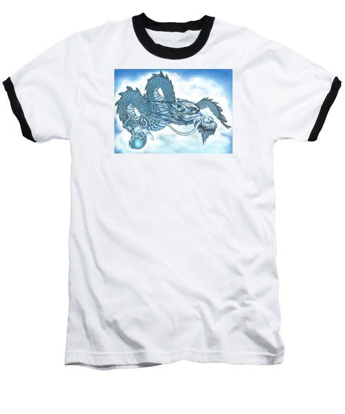Baseball T-Shirt featuring the drawing The Blue Dragon by Troy Levesque