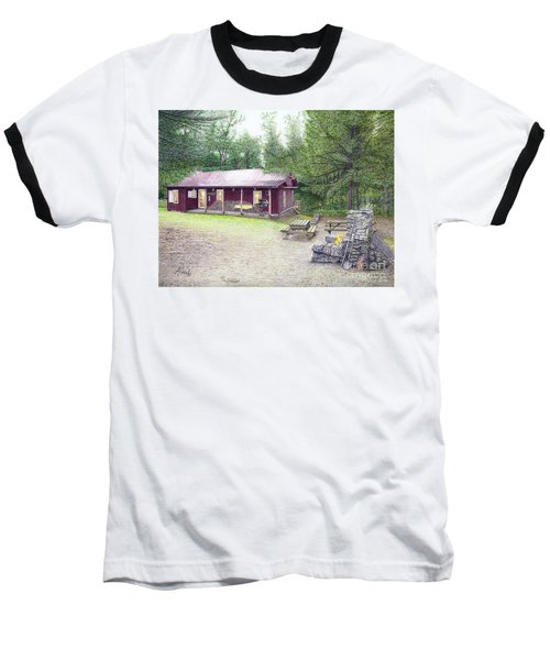 Baseball T-Shirt featuring the painting The Cabin In The Woods by Albert Puskaric