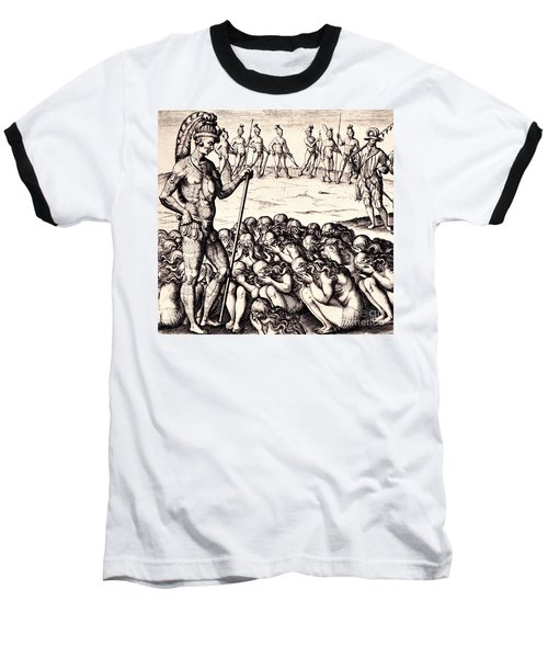 Baseball T-Shirt featuring the drawing The Chieffe Applyed To By Women by Peter Gumaer Ogden