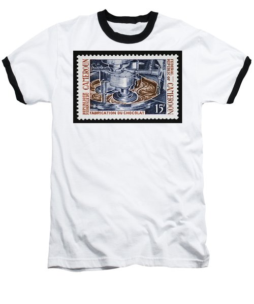 The Chocolate Factory Vintage Postage Stamp Baseball T-Shirt by Andy Prendy