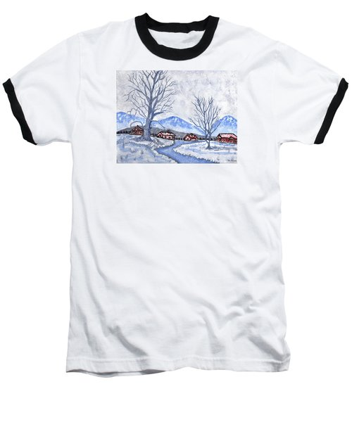 Baseball T-Shirt featuring the painting The Farm Life by Connie Valasco
