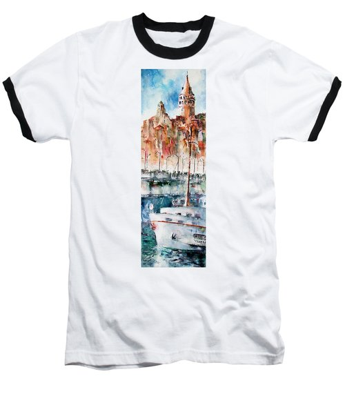 Baseball T-Shirt featuring the painting The Ferry Arrives At Galata Port - Istanbul by Faruk Koksal