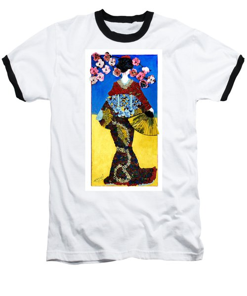 Baseball T-Shirt featuring the tapestry - textile The Geisha by Apanaki Temitayo M