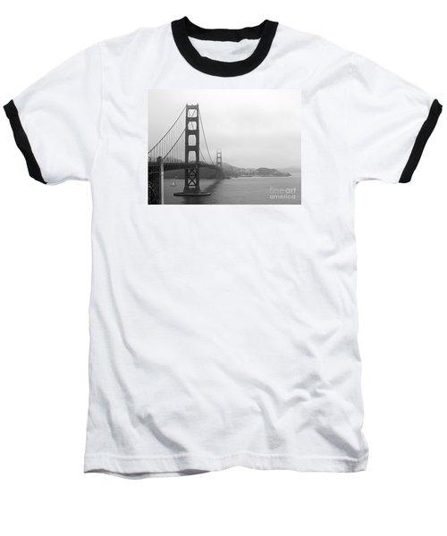 The Golden Gate Bridge In Classic B W Baseball T-Shirt by Connie Fox