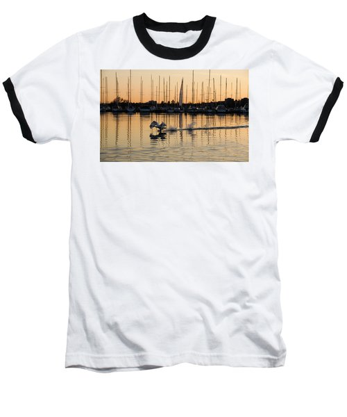 The Golden Takeoff - Swan Sunset And Yachts At A Marina In Toronto Canada Baseball T-Shirt
