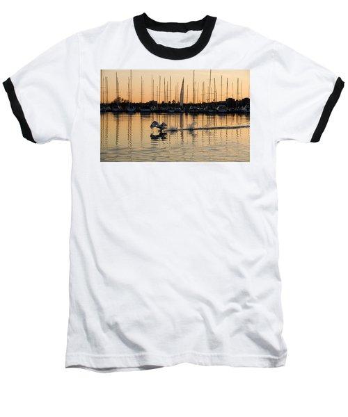 The Golden Takeoff - Swan Sunset And Yachts At A Marina In Toronto Canada Baseball T-Shirt