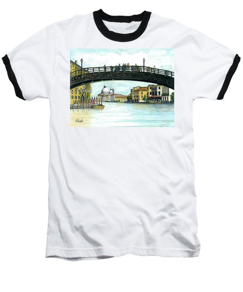 Baseball T-Shirt featuring the painting The Grand Canal Venice Italy by Albert Puskaric