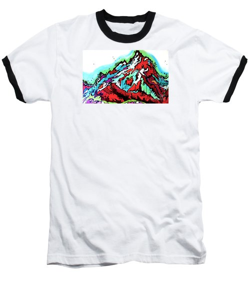 Baseball T-Shirt featuring the painting The Grand From Jackson Lake by Nicole Gaitan