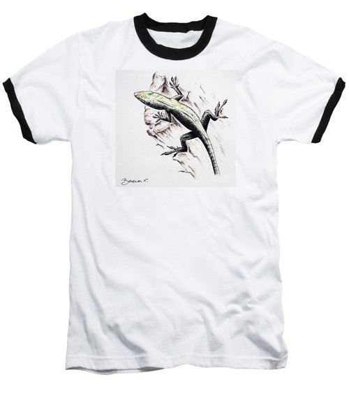 The Green Lizard Baseball T-Shirt by Katharina Filus