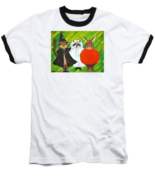 Baseball T-Shirt featuring the painting The Halloween Gang by Jennifer Lake