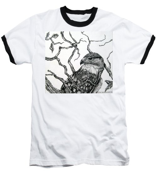 Baseball T-Shirt featuring the drawing The Hawk by Alison Caltrider