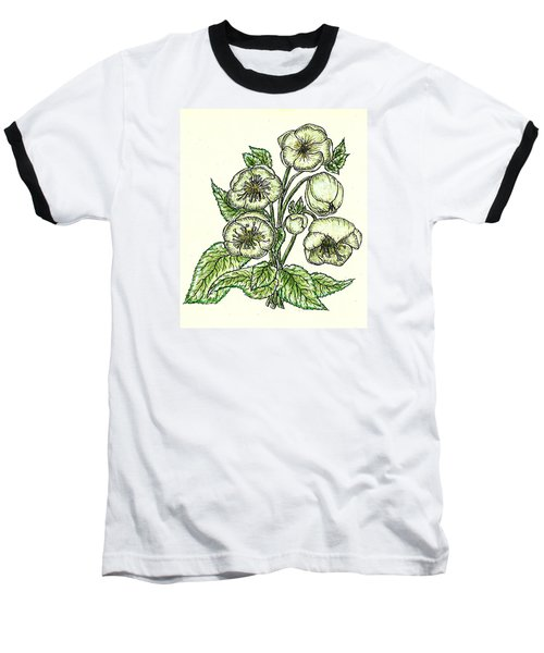 Baseball T-Shirt featuring the drawing The Helleborous by VLee Watson