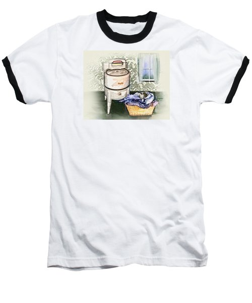 Baseball T-Shirt featuring the digital art The Laundry Room by Mary Almond