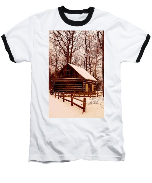The Log Cabin At Old Mission Point Baseball T-Shirt by Daniel Thompson