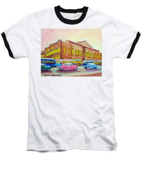 Baseball T-Shirt featuring the painting The Montreal Forum by Carole Spandau