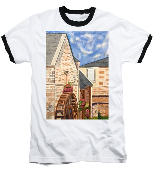 The Old French Mill Watercolor Art Prints Baseball T-Shirt by Valerie Garner