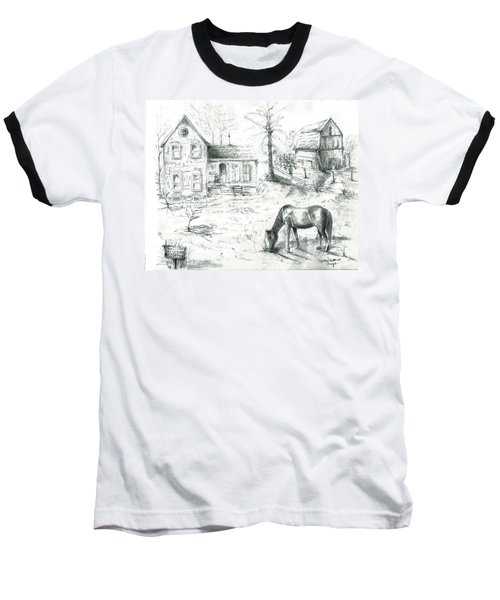 Baseball T-Shirt featuring the painting The Old Horse Farm by Bernadette Krupa