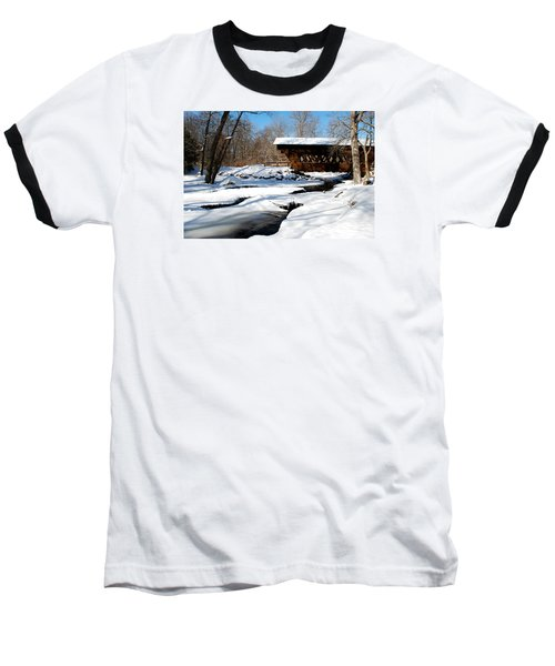 The River Flows Under The Springwater Covered Bridge Baseball T-Shirt by Janice Adomeit