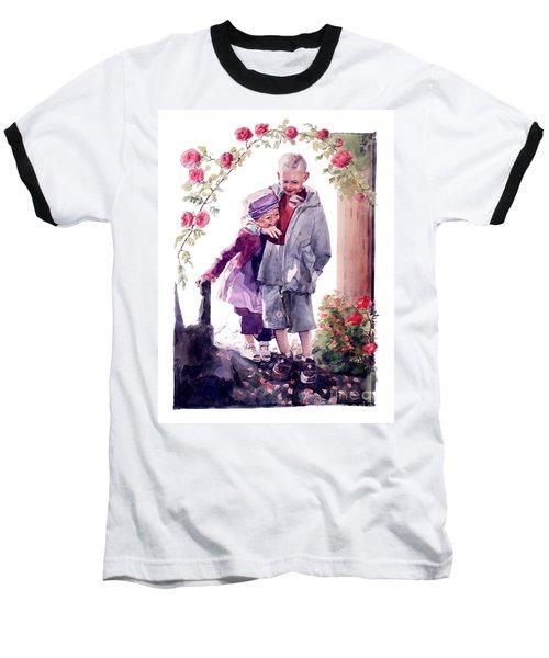 Watercolor Of A Boy And Girl In Their Secret Garden Baseball T-Shirt