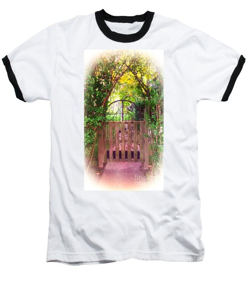 The Secret Gardens Gate Baseball T-Shirt by Becky Lupe