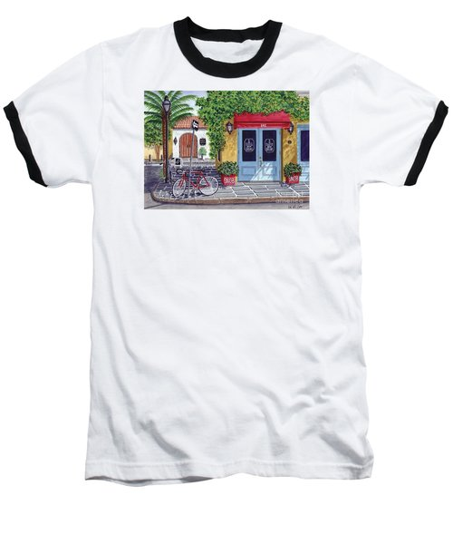 Baseball T-Shirt featuring the painting The Snob Restaurant by Val Miller