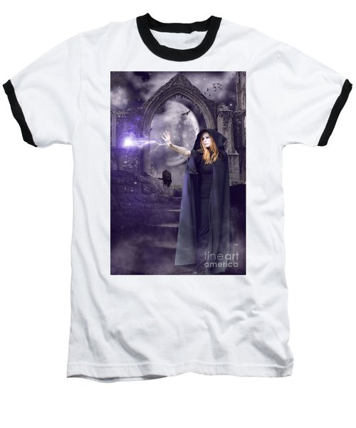 The Spell Is Cast Baseball T-Shirt by Linda Lees