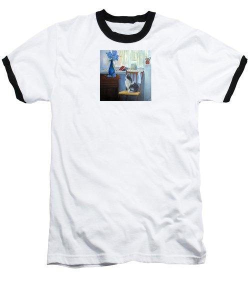 The Studio Cat Baseball T-Shirt by Loretta Luglio