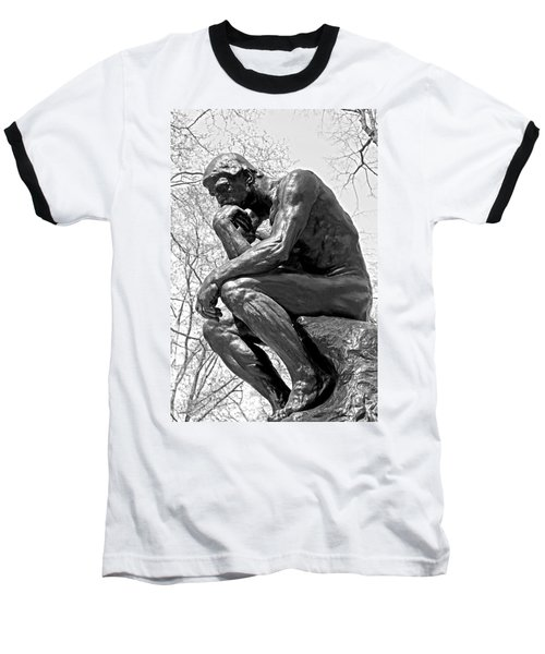 The Thinker In Black And White Baseball T-Shirt by Lisa Phillips