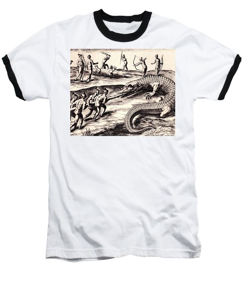 Baseball T-Shirt featuring the drawing Their Manner Of Killynge Crocodrilles by Peter Gumaer Ogden
