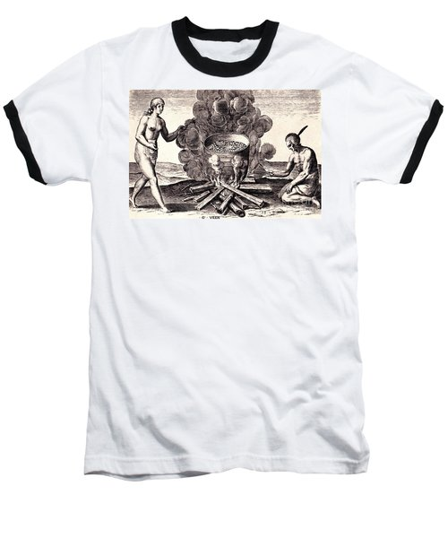 Baseball T-Shirt featuring the drawing Their Seetheynge Of Their Meate In Earthen Pottes by Peter Gumaer Ogden