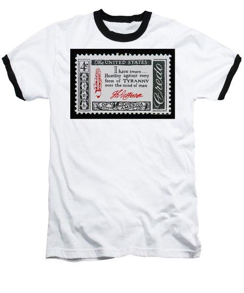 Thomas Jefferson American Credo Vintage Postage Stamp Print Baseball T-Shirt
