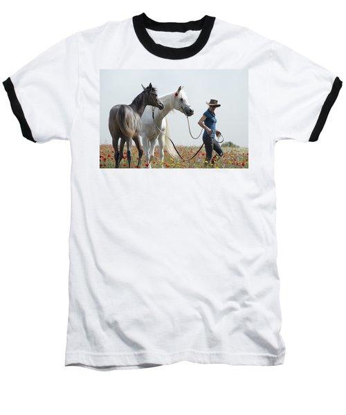 Three At The Poppies' Field... 1 Baseball T-Shirt