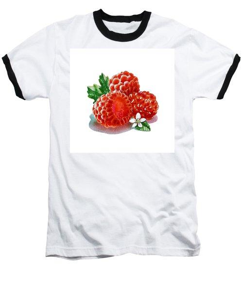 Baseball T-Shirt featuring the painting Three Happy Raspberries by Irina Sztukowski