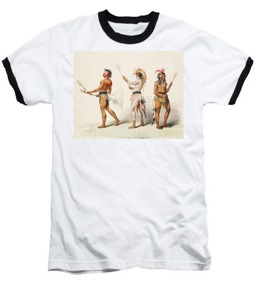 Three Indians Playing Lacrosse Baseball T-Shirt by Unknown
